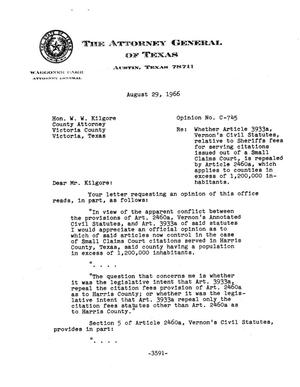 Primary view of object titled 'Texas Attorney General Opinion: C-745'.