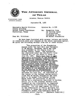 Primary view of object titled 'Texas Attorney General Opinion: C-758'.