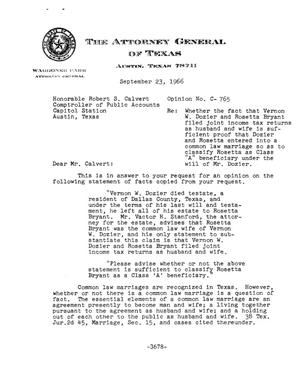 Primary view of object titled 'Texas Attorney General Opinion: C-765'.