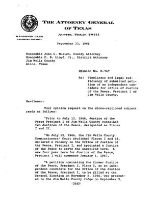 Primary view of object titled 'Texas Attorney General Opinion: C-767'.