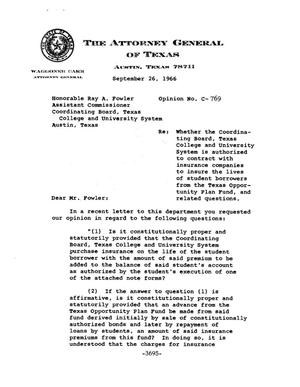 Primary view of object titled 'Texas Attorney General Opinion: C-769'.