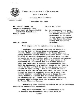 Primary view of object titled 'Texas Attorney General Opinion: C-770'.
