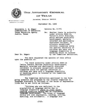 Primary view of object titled 'Texas Attorney General Opinion: C-771'.