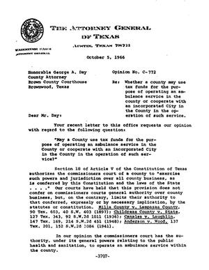 Primary view of object titled 'Texas Attorney General Opinion: C-772'.