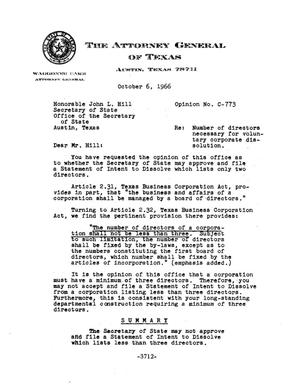 Primary view of object titled 'Texas Attorney General Opinion: C-773'.