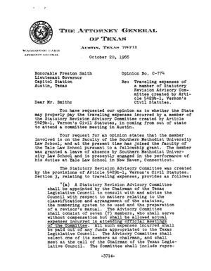 Primary view of object titled 'Texas Attorney General Opinion: C-774'.