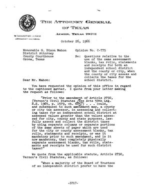 Primary view of object titled 'Texas Attorney General Opinion: C-775'.