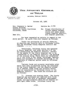 Primary view of object titled 'Texas Attorney General Opinion: C-776'.