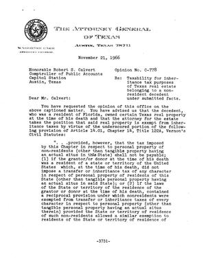 Primary view of object titled 'Texas Attorney General Opinion: C-778'.