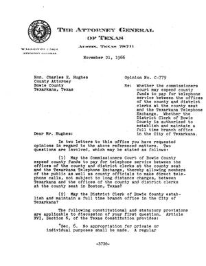 Primary view of object titled 'Texas Attorney General Opinion: C-779'.