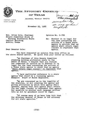 Primary view of object titled 'Texas Attorney General Opinion: C-782'.