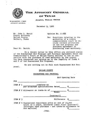 Primary view of object titled 'Texas Attorney General Opinion: C-788'.