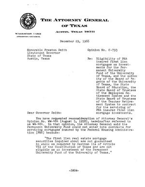 Primary view of object titled 'Texas Attorney General Opinion: C-793'.
