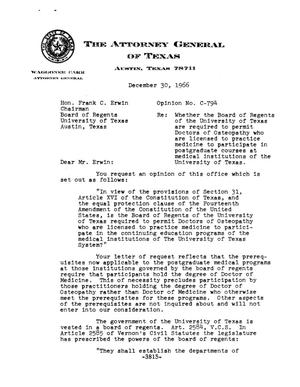 Primary view of object titled 'Texas Attorney General Opinion: C-794'.