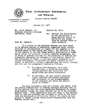 Primary view of object titled 'Texas Attorney General Opinion: M-12'.