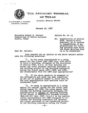 Primary view of object titled 'Texas Attorney General Opinion: M-13'.