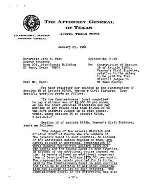 Primary view of object titled 'Texas Attorney General Opinion: M-14'.