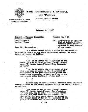 Primary view of object titled 'Texas Attorney General Opinion: M-29'.