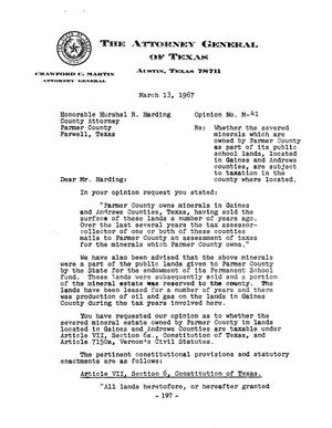 Primary view of object titled 'Texas Attorney General Opinion: M-41'.