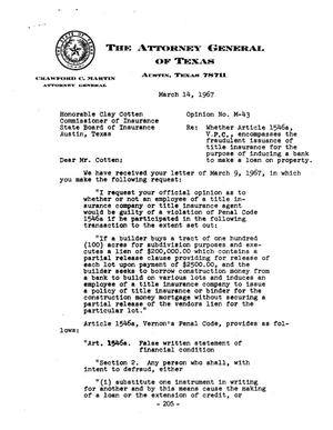 Primary view of object titled 'Texas Attorney General Opinion: M-43'.