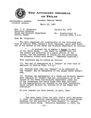 Primary view of object titled 'Texas Attorney General Opinion: M-47'.