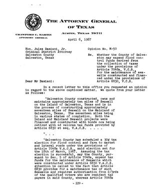 Primary view of object titled 'Texas Attorney General Opinion: M-50'.