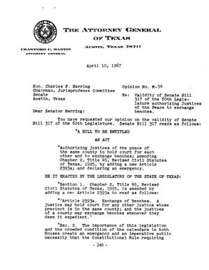 Primary view of object titled 'Texas Attorney General Opinion: M-54'.