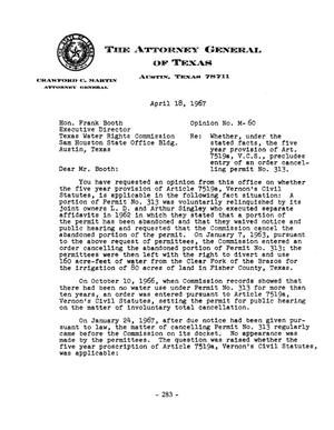 Primary view of object titled 'Texas Attorney General Opinion: M-60'.