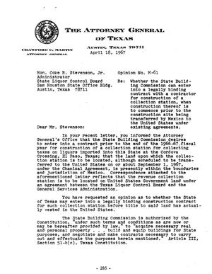 Primary view of object titled 'Texas Attorney General Opinion: M-61'.