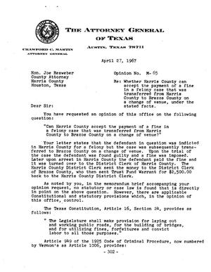 Primary view of object titled 'Texas Attorney General Opinion: M-65'.
