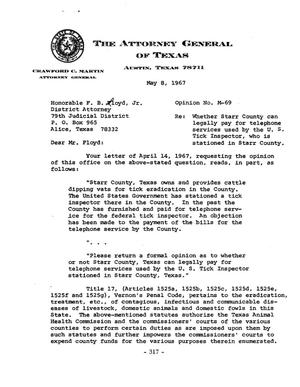 Primary view of object titled 'Texas Attorney General Opinion: M-69'.