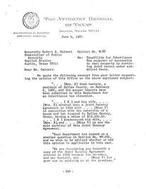 Primary view of object titled 'Texas Attorney General Opinion: M-88'.