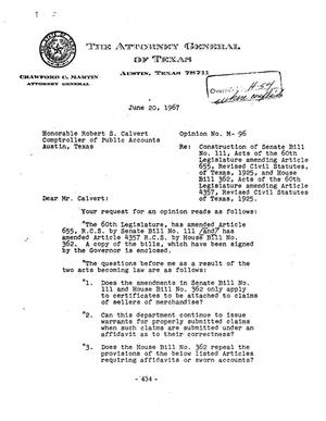 Primary view of object titled 'Texas Attorney General Opinion: M-96'.