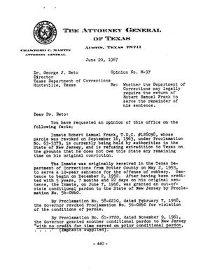 Primary view of object titled 'Texas Attorney General Opinion: M-97'.