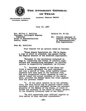 Primary view of object titled 'Texas Attorney General Opinion: M-101'.