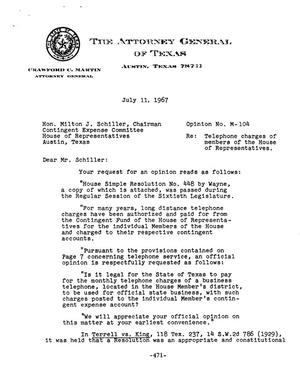 Primary view of object titled 'Texas Attorney General Opinion: M-104'.