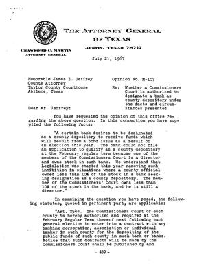 Primary view of object titled 'Texas Attorney General Opinion: M-107'.
