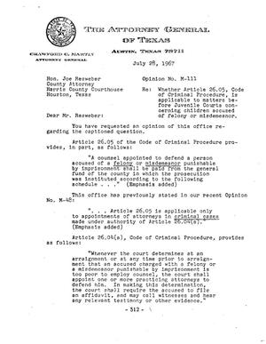 Primary view of object titled 'Texas Attorney General Opinion: M-111'.
