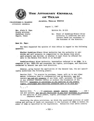 Primary view of object titled 'Texas Attorney General Opinion: M-113'.