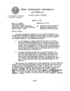 Primary view of object titled 'Texas Attorney General Opinion: M-116'.