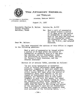 Primary view of object titled 'Texas Attorney General Opinion: M-119'.
