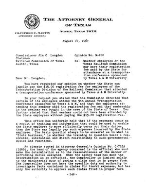 Primary view of object titled 'Texas Attorney General Opinion: M-120'.