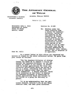 Primary view of object titled 'Texas Attorney General Opinion: M-145'.