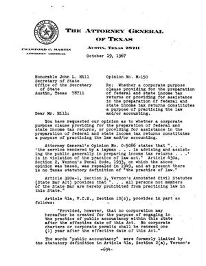 Primary view of object titled 'Texas Attorney General Opinion: M-150'.
