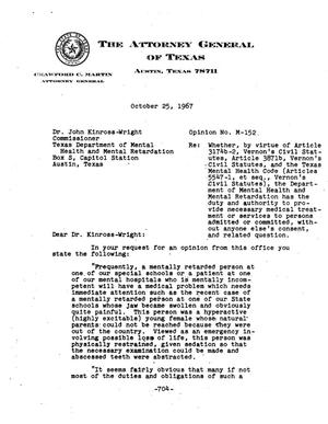 Primary view of object titled 'Texas Attorney General Opinion: M-152'.
