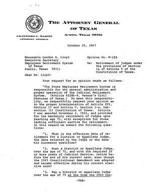 Primary view of object titled 'Texas Attorney General Opinion: M-153'.