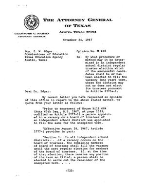 Primary view of object titled 'Texas Attorney General Opinion: M-158'.