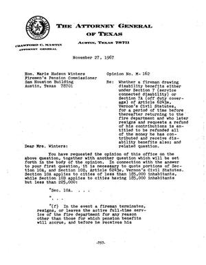 Primary view of object titled 'Texas Attorney General Opinion: M-162'.