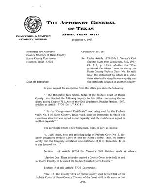 Primary view of object titled 'Texas Attorney General Opinion: M-166'.