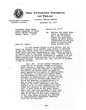 Primary view of object titled 'Texas Attorney General Opinion: M-170'.